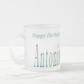 Antonio, logotipo do feliz aniversario, caneca do