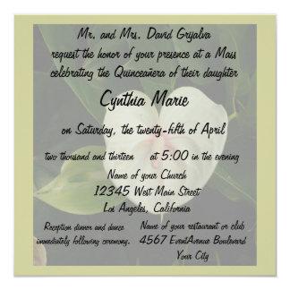 Antúrio do branco de Quinceanera Convite Quadrado 13.35 X 13.35cm