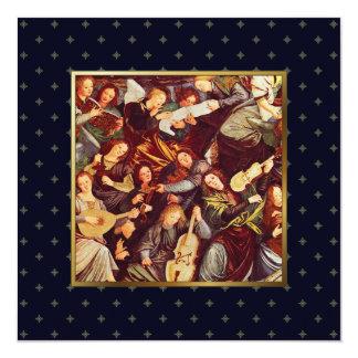 Anunciando anjos. Cartões de Natal religiosos Convite Quadrado 13.35 X 13.35cm