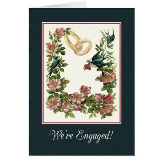 Anuncie o noivado com pintura do jardim do vintage cartão comemorativo