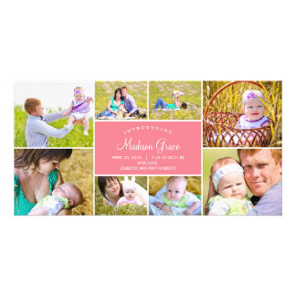 Anúncio à moda do nascimento da colagem - rosa cartão com foto