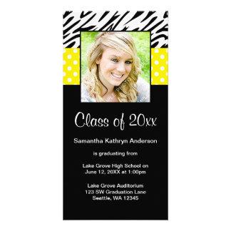 Anúncio amarelo da graduação das bolinhas da zebra cartão com foto