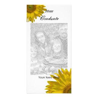 Anúncio amarelo da graduação do girassol cartão com foto