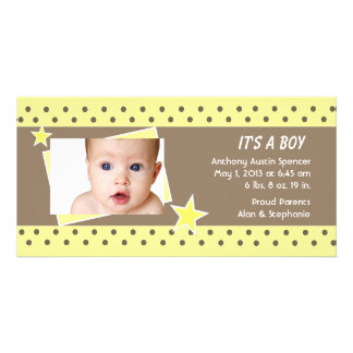 Anúncio amarelo do nascimento da foto da estrela cartão com foto personalizado