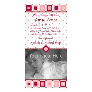 Anúncio arredondado do nascimento dos quadrados -  cartões com foto personalizados
