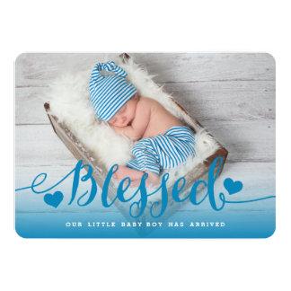 Cartão Anúncio azul abençoado do nascimento do bebé de |