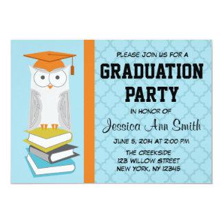 Anúncio azul/alaranjado da graduação da coruja convite 12.7 x 17.78cm