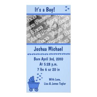 Anúncio azul da carruagem & do nascimento dos cora cartao com fotos