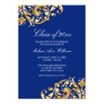 Anúncio azul da festa de formatura do redemoinho convites personalizados