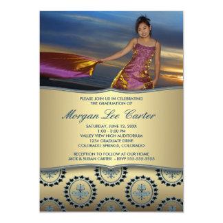 Anúncio azul da graduação da foto da crista do convite 12.7 x 17.78cm
