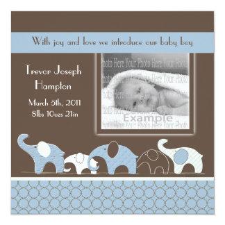 Anúncio azul do bebé do elefante convite quadrado 13.35 x 13.35cm