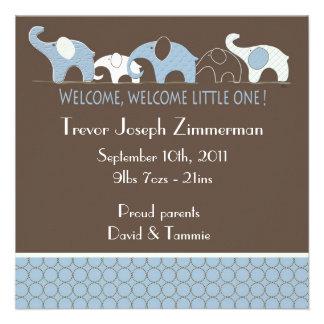 Anúncio azul do bebê dos elefantes convites personalizados