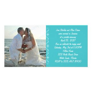 Anúncio azul do casamento do mar simples cartão com foto
