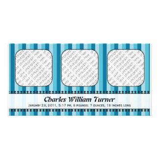 Anúncio azul do nascimento dos toldos brilhantes cartão com foto
