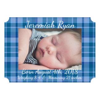 Anúncio azul feito sob encomenda do nascimento do