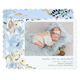 Anúncio   azul floral do nascimento da foto de