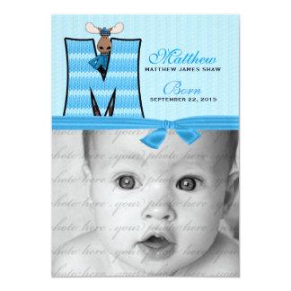Anúncio azul Monogrammed do nascimento dos alces Convite 12.7 X 17.78cm