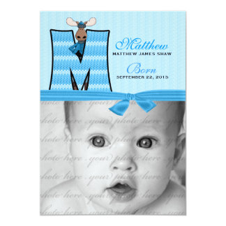 Anúncio azul Monogrammed do nascimento dos alces Convites
