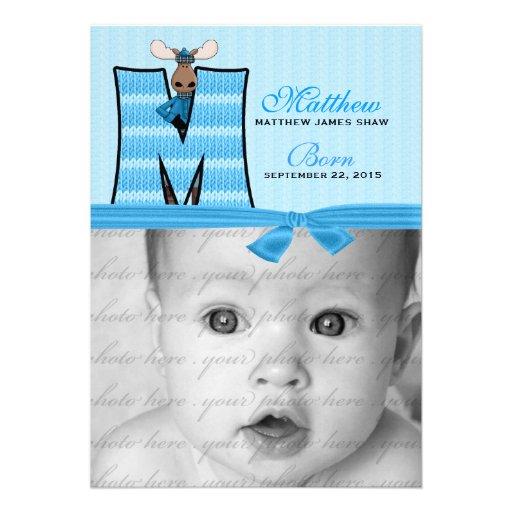 Anúncio azul Monogrammed do nascimento dos alces d Convites