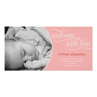 Anúncio bem-vindo bonito do nascimento do bebê - r cartões com foto