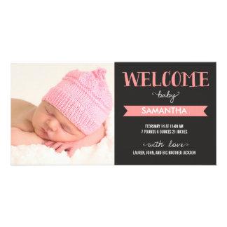Anúncio bem-vindo do nascimento do bebé do chique cartoes com fotos personalizados