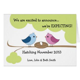 Anúncio bonito da gravidez - pássaros no ninho cartão comemorativo