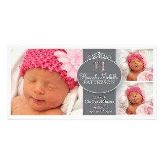 Anúncio bonito do monograma da foto do bebê 3 da m cartao com foto