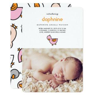 Anúncio bonito do nascimento da foto da menina de convite 12.7 x 17.78cm