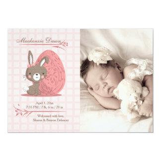 Anúncio bonito do nascimento da foto do coelho convite 12.7 x 17.78cm