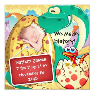 Anúncio bonito do nascimento do dinossauro convite quadrado 13.35 x 13.35cm