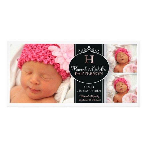 Anúncio bonito do nascimento do monograma da foto  cartões com fotos