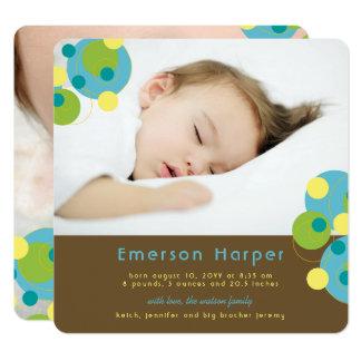 Cartão Anúncio borbulhante do nascimento do bebé dos