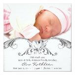 Anúncio branco de prata do nascimento da foto do convites personalizados