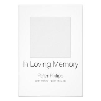 Anúncio branco do funeral do modelo + Beira Convite 9.52 X 12.7cm
