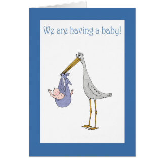 Anúncio, cegonha e bebê da gravidez cartão comemorativo