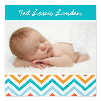 Anúncio | Chevron do nascimento da foto do bebé 2 Convite Quadrado 13.35 X 13.35cm