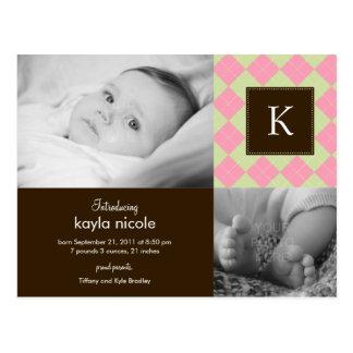 Anúncio chique do nascimento do bebé de Argyle Cartão Postal