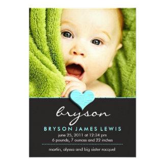 Anúncio chique simples do bebê convites personalizados