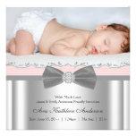 Anúncio cinzento cor-de-rosa do nascimento da foto convites personalizados