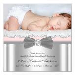 Anúncio cinzento cor-de-rosa do nascimento da foto convite quadrado 13.35 x 13.35cm