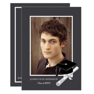 Anúncio cinzento moderno da festa de formatura da convite 12.7 x 17.78cm