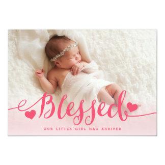 Cartão Anúncio cor-de-rosa abençoado do nascimento da