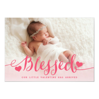 Anúncio cor-de-rosa abençoado do nascimento dos convite 12.7 x 17.78cm