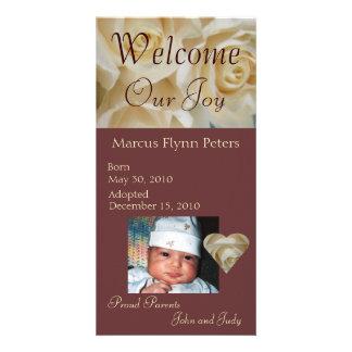 Anúncio cor-de-rosa da adopção da foto do marfim cartao com foto