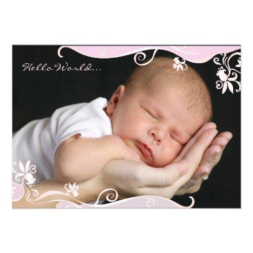 Anúncio cor-de-rosa do nascimento da foto da caríc convite