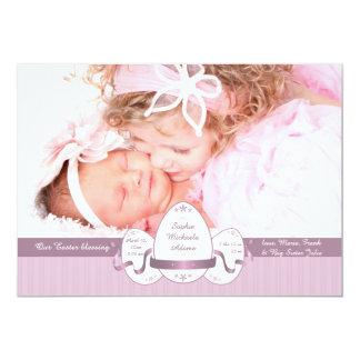 Anúncio cor-de-rosa do nascimento da foto da convite 12.7 x 17.78cm