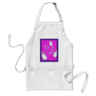 Anúncio cor-de-rosa do nascimento do tabuleiro de  avental