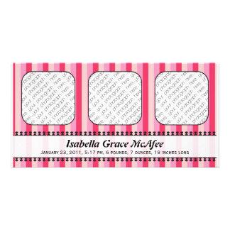 Anúncio cor-de-rosa do nascimento dos toldos brilh cartoes com fotos personalizados