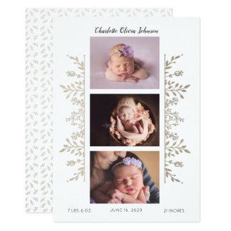 Anúncio cor-de-rosa elegante do nascimento da foto