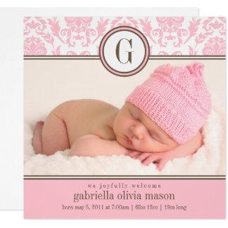 Anúncio cor-de-rosa quadrado do nascimento do